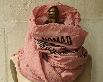 NOMAD dirty pink Scarf,  printed scarf, Spring Summer, cotton , large , fashion, unique accessories,