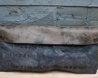 Studio SALE Gray Clutch Bag/ Women's Purse / Leather Clutch / Canvas Clutch / Women's Accessories / Leather Bags/