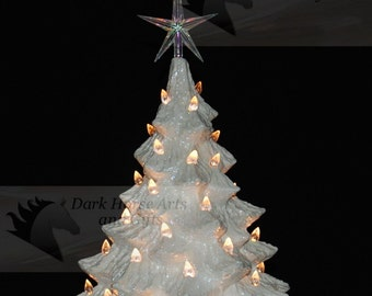 Mother Of Pearl White Christmas Ceramic Christmas Tree 16 inches