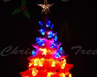 Red, White, and Blue Ceramic Christmas Tree 11 in