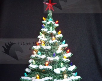 Old Fashioned Ceramic Christmas Tree w/ Snow 19 inches
