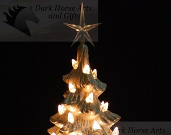Mother Of Pearl White Christmas Ceramic Christmas Tree 11 inches