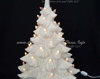 White Christmas Ceramic Christmas Tree 19 inches