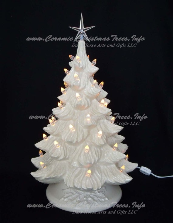 White Christmas Tree With Lights.White Christmas Ceramic Christmas Tree 19 Inches