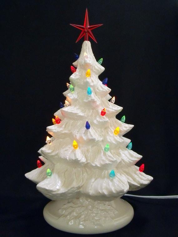 White Ceramic Christmas Tree.Silver Bells 16 Inch White Ceramic Christmas Tree W Music Box