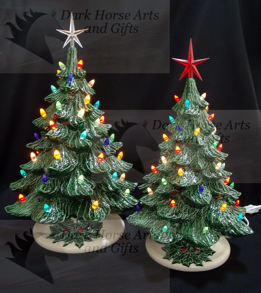 Old Fashioned Ceramic Christmas Tree 16 And 19 Inch