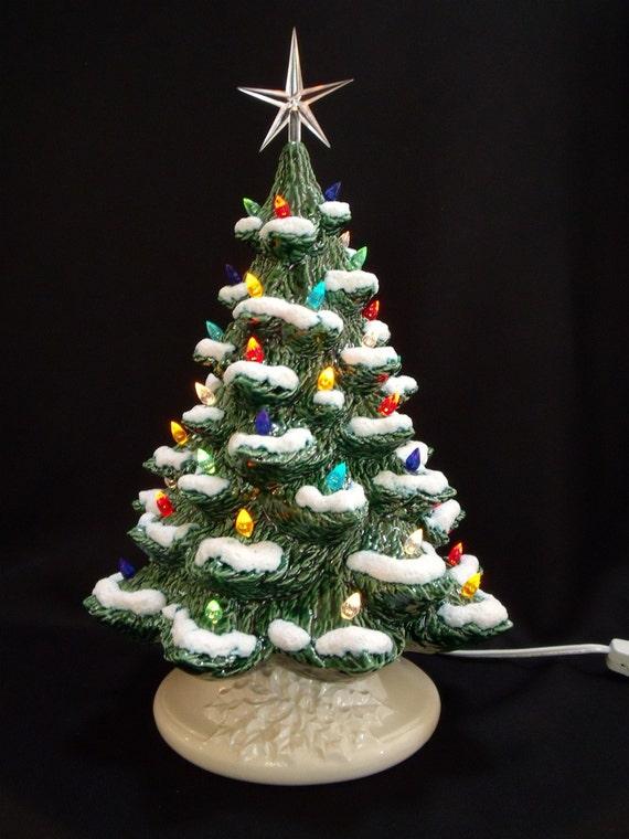 Ceramic Christmas Tree With Snow.Classic Ceramic Christmas Tree With Snow 16 Inches