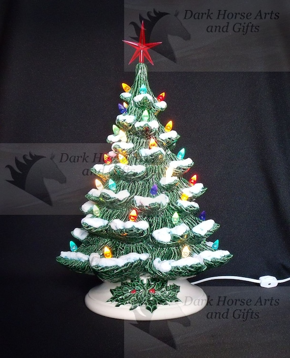 Old Fashioned Ceramic Christmas Tree W Snow 19 Inches Etsy