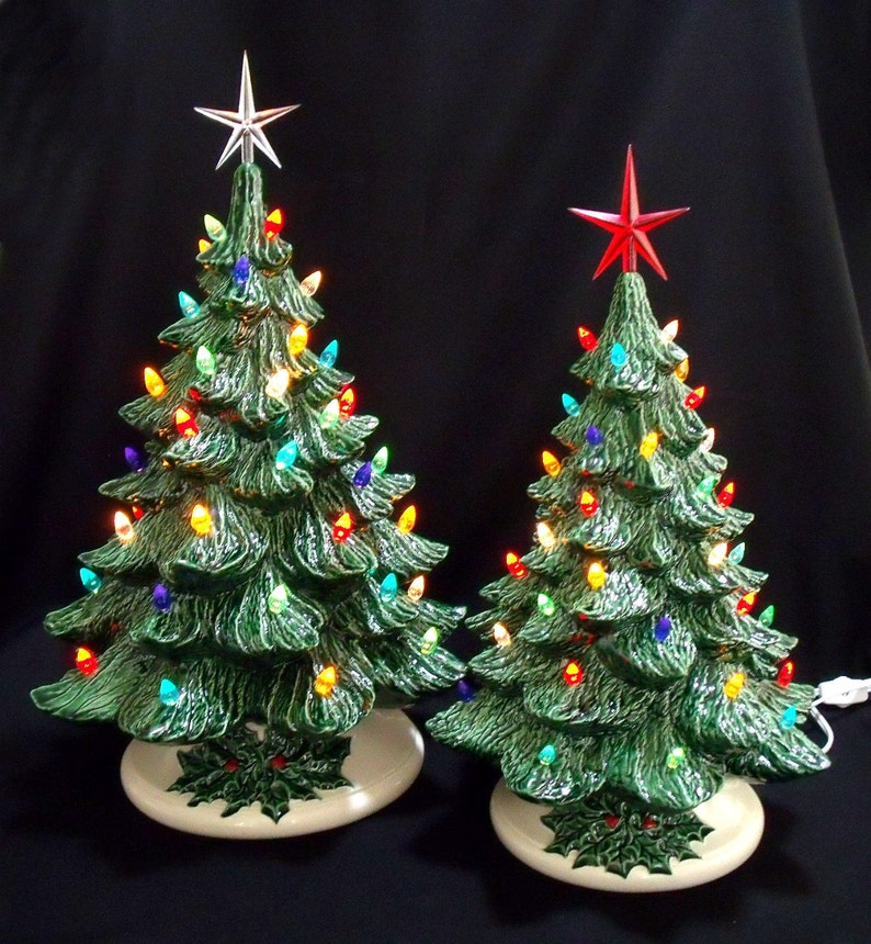 Ceramic Christmas Tree With Lights.Old Fashioned Ceramic Christmas Tree 16 And 19 Inch Collection Lights Are Glued In