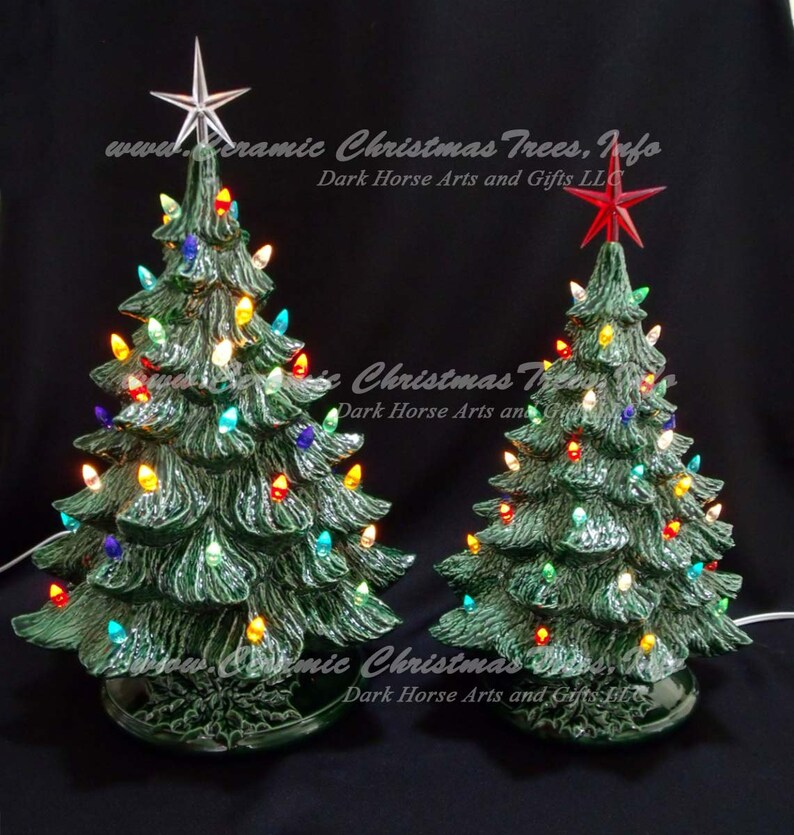 Vintage Style Ceramic Christmas Trees With Music Boxes 19 And 16 Inch Lights Not Glued In