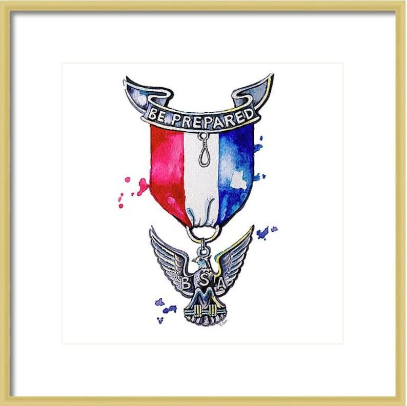 Eagle Scout Watercolor Art Print Boy Scouts Gift Watercolor Print Medal Gift Boy Scout Eagle Scout Art Eagle Scout Medal
