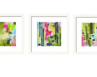 Abstract Art Set of 3 Prints Watercolor Painting Coastal Decor Wall Art