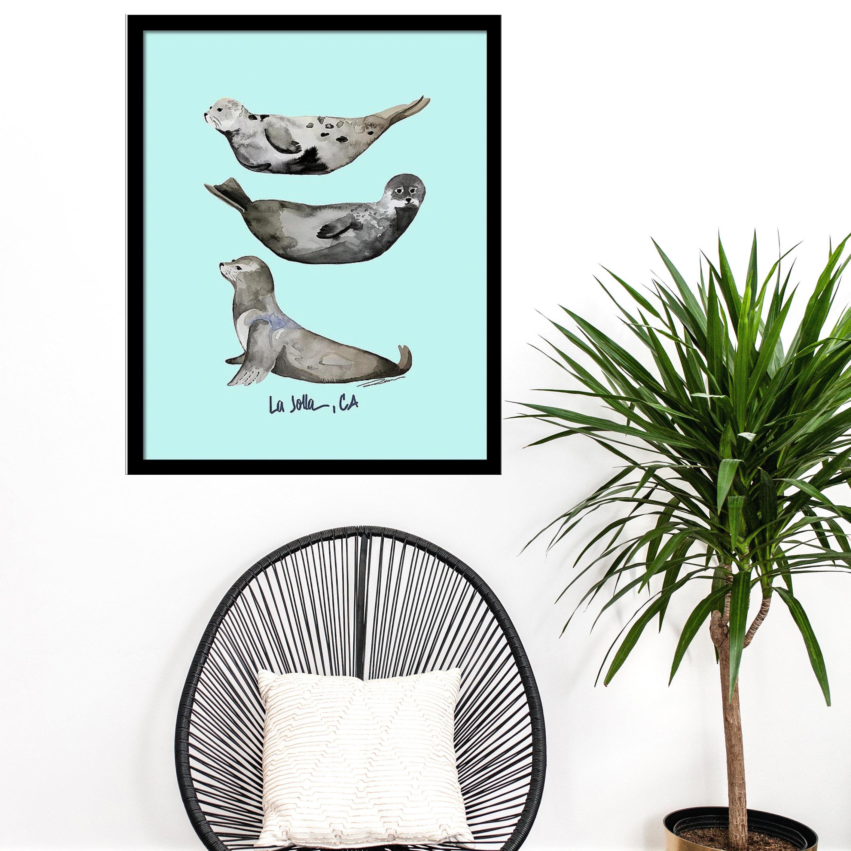 La Jolla Dichtungen Art Print Tier Aquarell Druck Illustration   Etsy