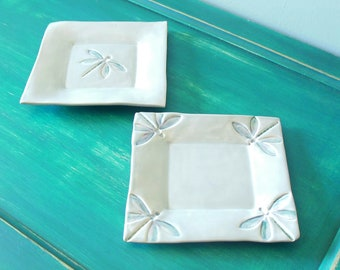 Serveware Quinlan Glass Handmade Handbuilt Stoneware Pottery Serving Plate Candy Dish Tableware Jewelry Dish Earthenware Dessert Plate