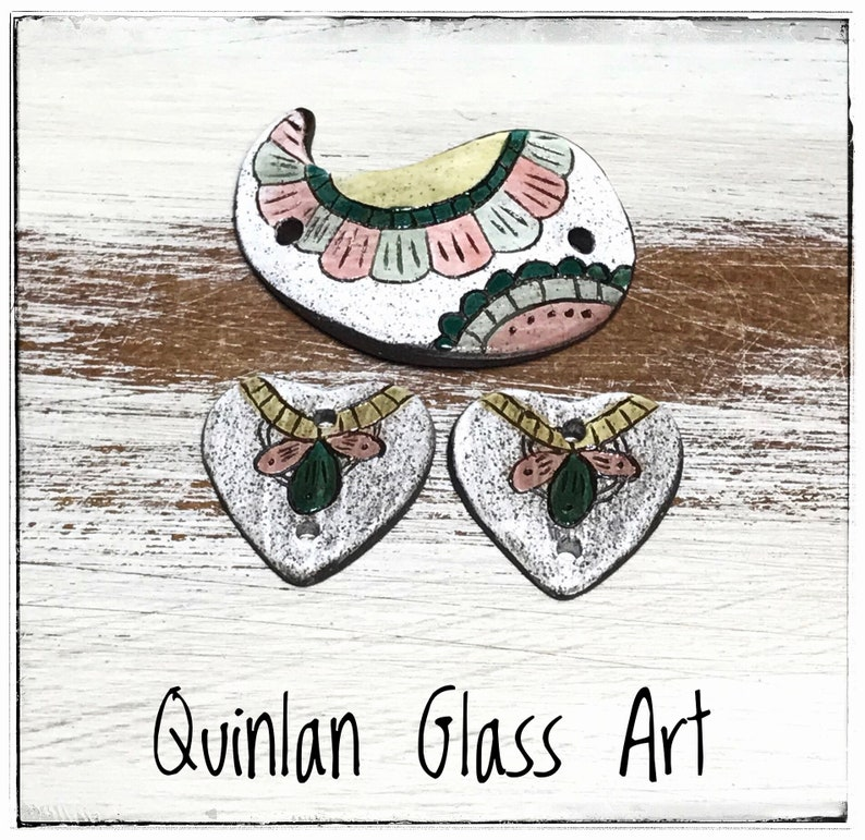 Quinlan Glass Bracelet Bar and Earring Pairs Handmade Porcelain Ceramic Jewelry Components