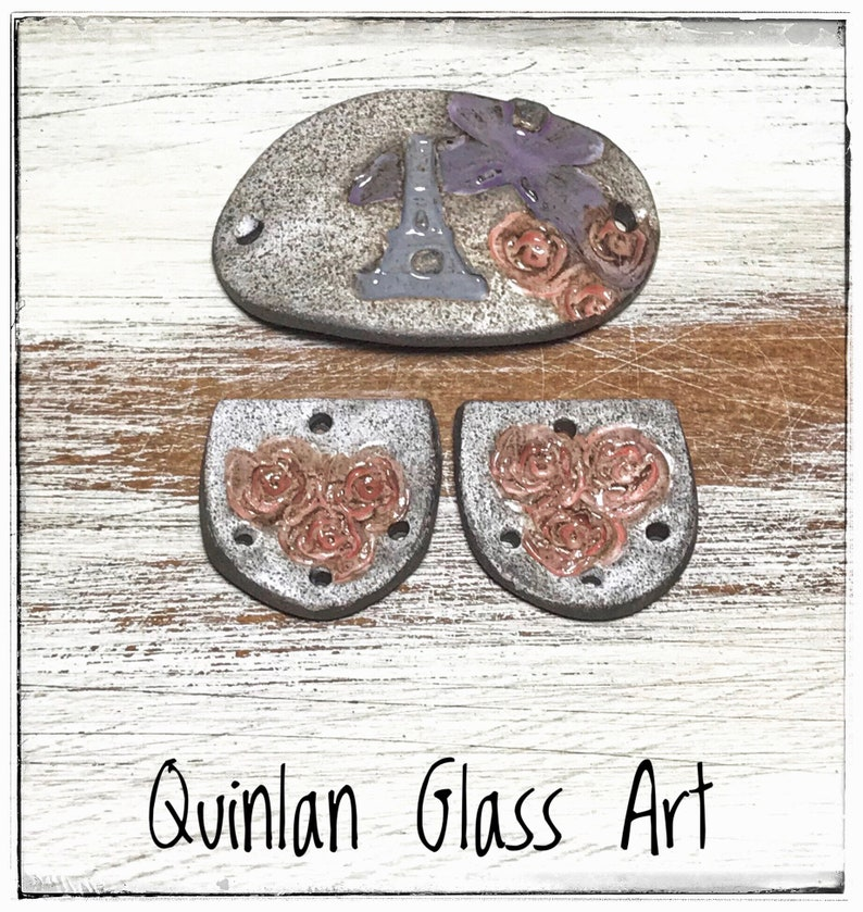 Quinlan Glass Paris in Spring Handmade Porcelain Ceramic Jewelry Component Focal Component Earring Pairs Bracelet Bar Connecting Bar