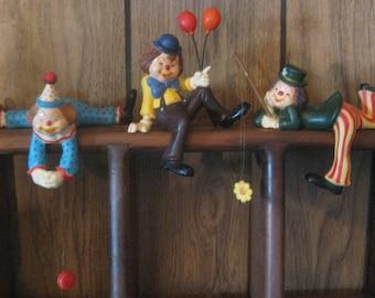 Vintage Three Clowns Figurines Handpainted