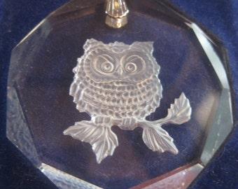 Austrian Lead Crystal Owl Pendant 1970's with Original Box