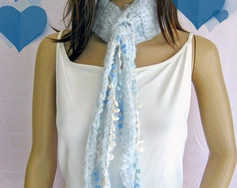 Mohair Neckwarmer - Angel Blue - with Dingle Dangles