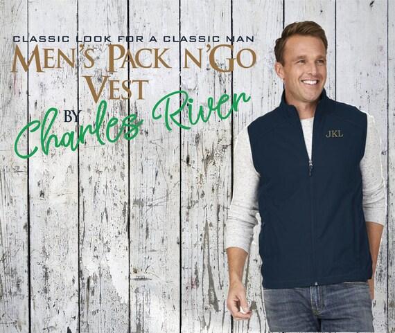 Personalized Men s Vest Charles River Pack n Go Vest  203116109cd7