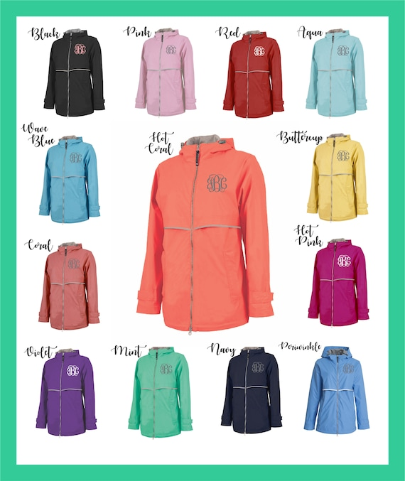 bb048041fe2 Monogrammed Rain Jacket Charles River Apparel Personalized