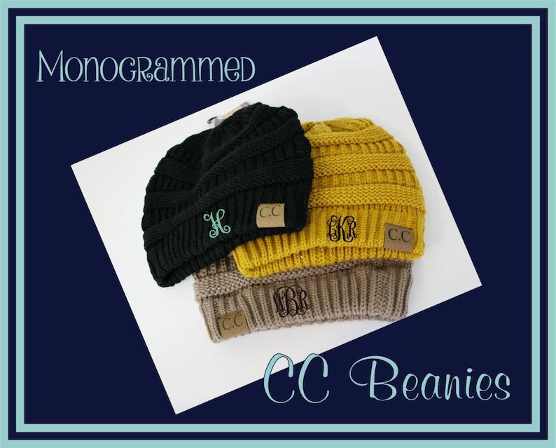 CC Beanies Monogrammed Monogram Beanie Gift for Her  a4db239a12a