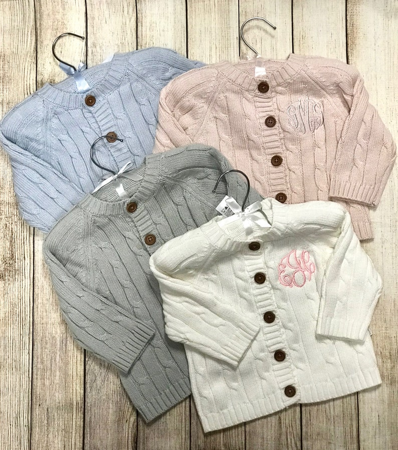 Infant Cardigan  Monogrammed Baby Sweater Baby Shower Gift image 1