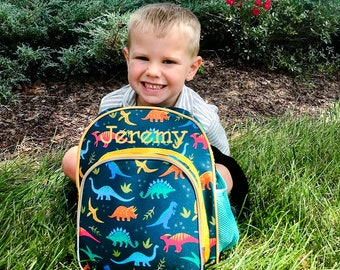 """Monogram Backpack and Lunch Bag - 12"""" Wildkin Jurassic Giants, Preschool Day Pack, Back to School, Insulated Backpack, Day Care"""