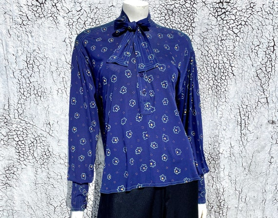 Rare JEAN MUIR '70s Floral Viscose Tunic Blouse S… - image 3
