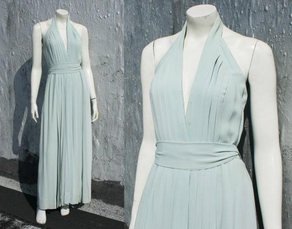 70s Oscar De La Renta Halter Dress Size S M 60s Sa