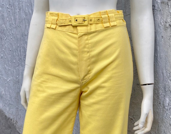 1970s Yellow Flared Pants Size XS S M Glam Rock D… - image 3
