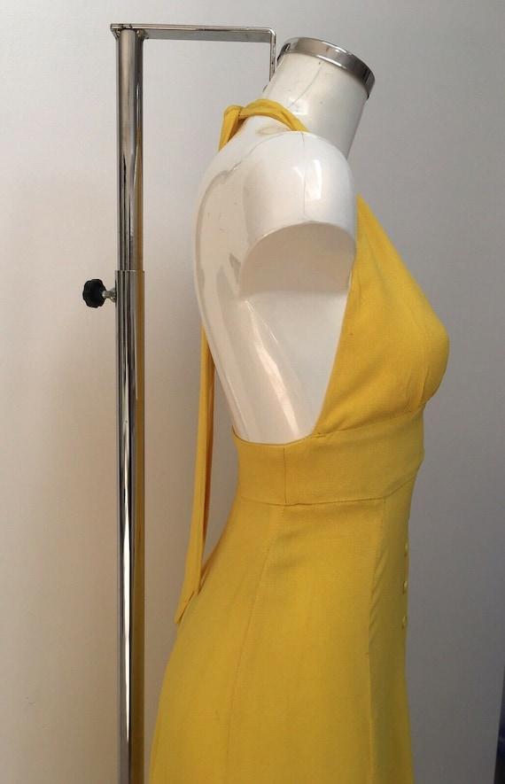 Authentic OSSIE CLARK Yellow Crepe Halter Maxi Dr… - image 3