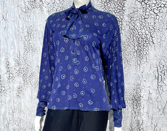 Rare JEAN MUIR '70s Floral Viscose Tunic Blouse S… - image 2