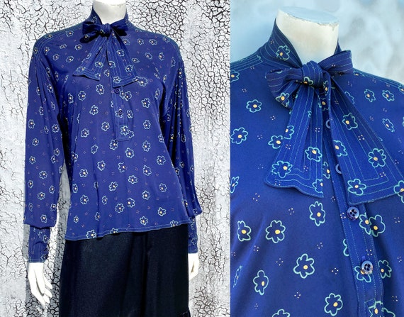Rare JEAN MUIR '70s Floral Viscose Tunic Blouse S… - image 1