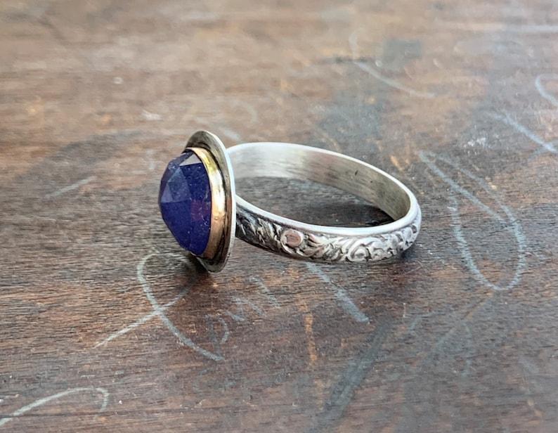 Tanzanite Ring-Handmade Rose Cut Tanzanite 14kt Gold and Sterling Stacking Ring-OOAK