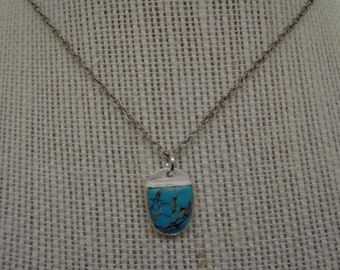 Blue Turquoise Cabochon and Sterling Silver Textured Pendant Necklace OOAK
