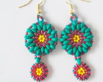Green dangle earrings , seed bead earrings , super duo bead earrings , beadwork earrings , Native American style earrings , beaded dangles