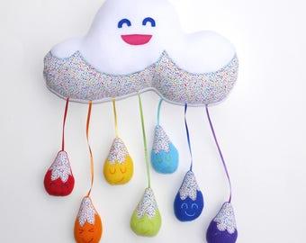 Happy arc en ciel nuage Mobile peluche, Arthur Bago, chambre d'enfants, cadeau, décoration, mignonne, chambre de bébé, cadeau, arc en ciel, nuage