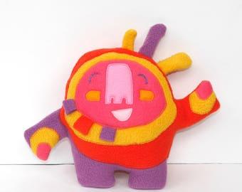 Small Happy Sprite Plush in Purple/Red, stuffie, creature, child friendly, huggable, lovie, plushie, cute, stuffed animal
