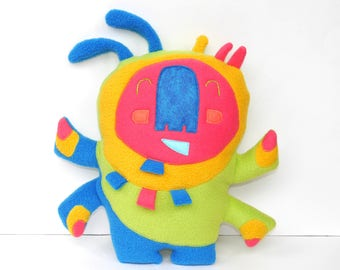 Large Happy Sprite in Blue and Green, creature, stuffie, plushie, child friendly, huggable, colorful, plushie, stuffed animal