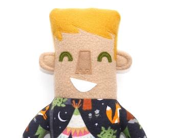 Liam Pajama Kid Plush Doll, stuffie, lovie, cute, plushie, boy, stuffed animal, camping themed