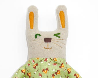 Perry Rabbit plush, bunny, stuffie, lovie, plushie, cute, stuffed animal, ooak art doll, rabbit