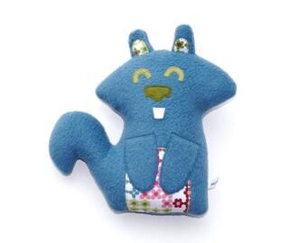 Blue Squirrel Plush, stuffed animal, baby gift, stuffie, cuddly, child friendly, huggable, plushie