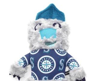 Percy the Monster Seattle Mariners Fan plush, stuffie, lovie, sports fan, cuddly, huggable, child friendly, plushie, stuffed animal