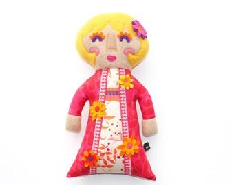 Princess Flora plush doll, flowers, art doll, girl, pink, princess, stuffie, cute