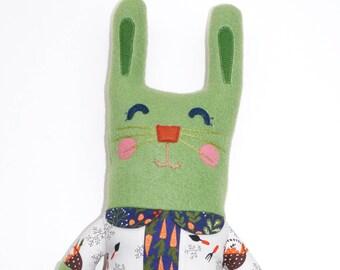 Lucy Lapin Rabbit Plush, stuffie, bunny, plushie, child friendly, cuddly, girl, bunny rabbit, stuffed animal, ooak art doll, rabbit