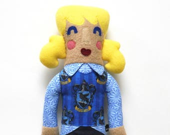 Genevieve of Ravenclaw House Plush doll, harry potter, stuffie, girl doll, ponytails, blonde, child friendly, harry potter fan gift