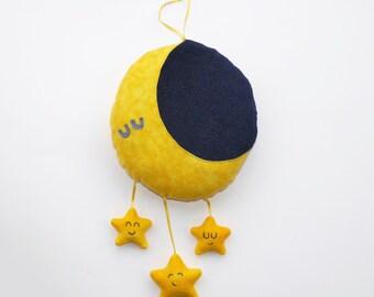 Moon and Stars plush mobile, baby gift, nursery gift, cute, bedroom, decor, moon, stars, plushie, nursery, stuffed animal