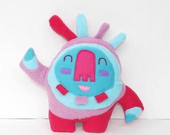 Small Happy Sprite in Blue/Lavender plush, creature, Lovie, softie, plushie, stuffed animal, ooak art doll, spirit, doll