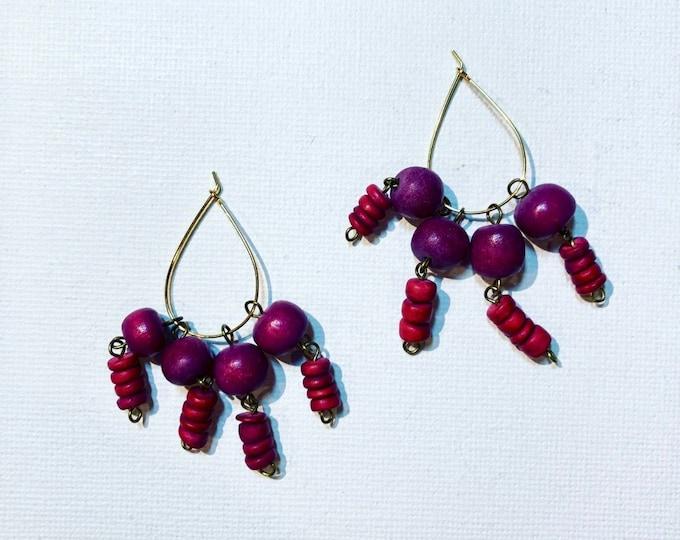 BunchOfRoses - Wood earrings in hot pink